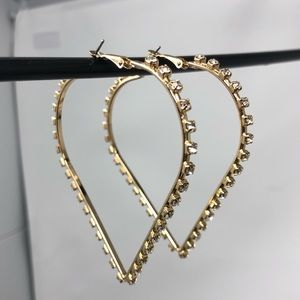 District LA Crystal Studded Heart Shape Hoops